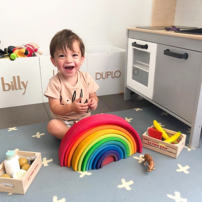 Rainbow themed toys background image