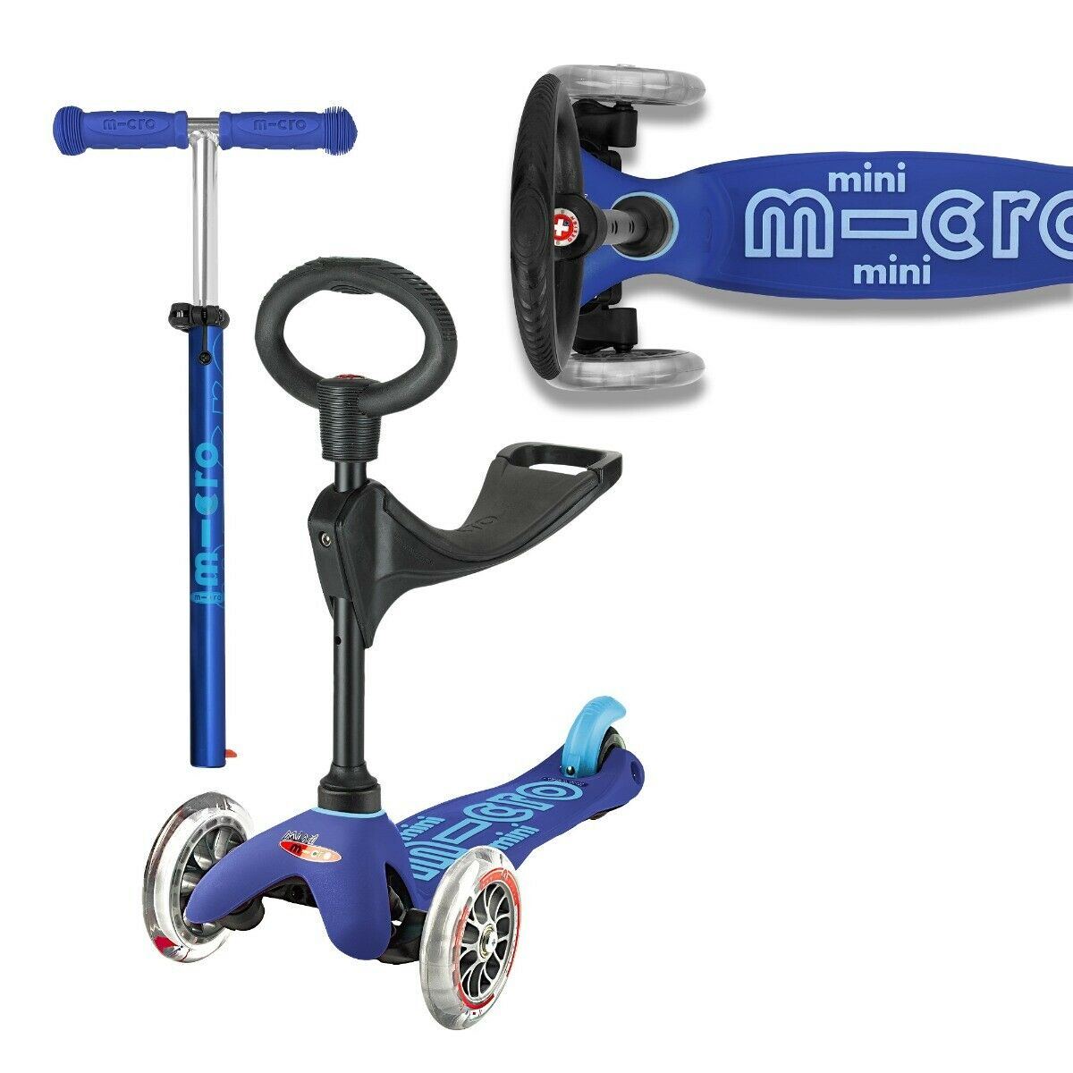 Micro Mini 3-in-1 Deluxe Ride On Seated Scooter - Blue