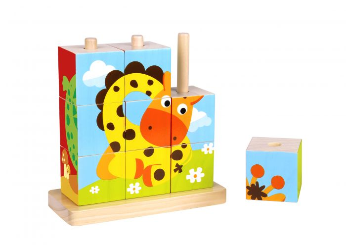 Tooky Toy Wooden Animal Stacking Blocks Puzzle